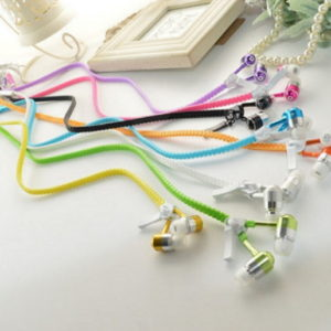 Wired Zipper Earphones Headset With Micro Luminous Light Glow in the Dark