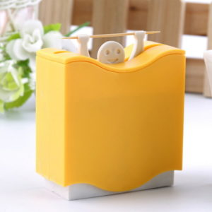 1 pcs Weight Lifter Automatic Toothpick Holder Bucket Home Bar Table Accessories Popular - Yellow