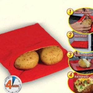 1PC NEW Red Washable Cooker Bag Baked Potato Microwave Quick Fast
