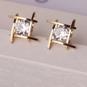Full Crystals Square Stud Earrings
