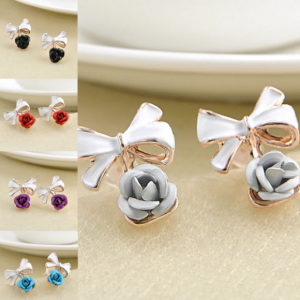 1 Pair Women Charming Rose Flower Ear Studs Bowknot