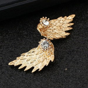 Angel Wings Stud Earrings Inlaid Crystal Earring